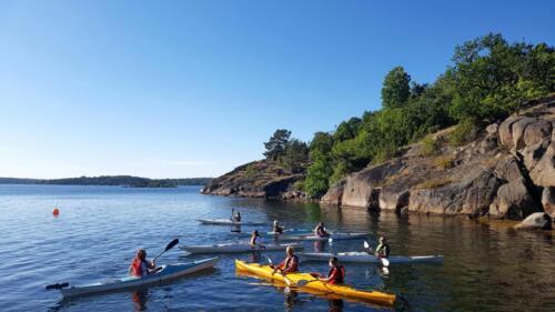 Group of kayakers on ARK56 kayaking trail